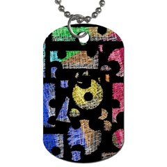 Colorful Puzzle Dog Tag (one Side) by Valentinaart