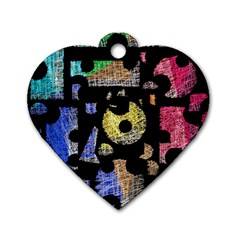 Colorful Puzzle Dog Tag Heart (one Side) by Valentinaart