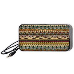 Aztec Pattern Ethnic Portable Speaker (Black)  by Zeze