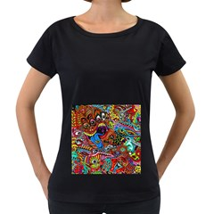 Art Color Dark Detail Monsters Psychedelic Women s Loose-Fit T-Shirt (Black) by Zeze