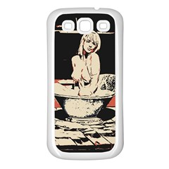23 Sexy Conte Sketch Girl In Dark Room Naked Boobs Bathing Country Samsung Galaxy S3 Back Case (white) by PeterReiss