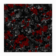 Gray And Red Decorative Art Medium Glasses Cloth (2 Side) by Valentinaart