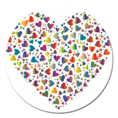 Chaotic Colorful Heart Fractal Magnet 5  (Round) by Zeze
