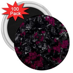 Magenta And Gray Decorative Art 3  Magnets (100 Pack) by Valentinaart