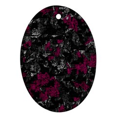 Magenta And Gray Decorative Art Oval Ornament (two Sides) by Valentinaart