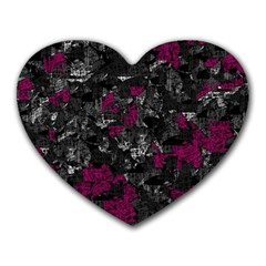 Magenta And Gray Decorative Art Heart Mousepads by Valentinaart