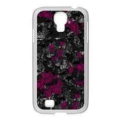 Magenta And Gray Decorative Art Samsung Galaxy S4 I9500/ I9505 Case (white) by Valentinaart