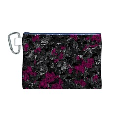 Magenta And Gray Decorative Art Canvas Cosmetic Bag (m) by Valentinaart