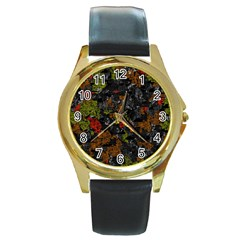 Autumn Colors  Round Gold Metal Watch by Valentinaart
