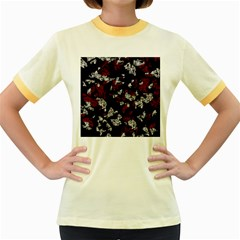 Red, White And Black Abstract Art Women s Fitted Ringer T Shirts by Valentinaart