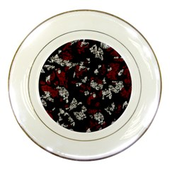 Red, White And Black Abstract Art Porcelain Plates by Valentinaart