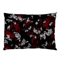 Red, White And Black Abstract Art Pillow Case by Valentinaart