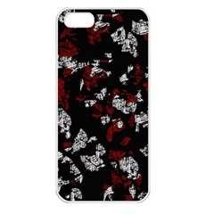 Red, White And Black Abstract Art Apple Iphone 5 Seamless Case (white) by Valentinaart