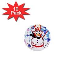 Snowman 1  Mini Buttons (10 Pack)  by Valentinaart