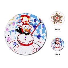 Snowman Playing Cards (round)  by Valentinaart