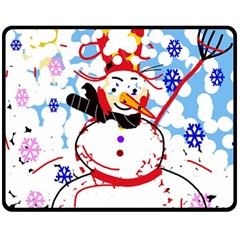 Snowman Fleece Blanket (medium)  by Valentinaart