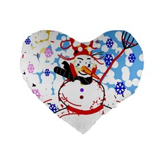 Snowman Standard 16  Premium Flano Heart Shape Cushions by Valentinaart
