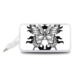Butterfly Wings Tattoo Portable Speaker (White)  by Zeze