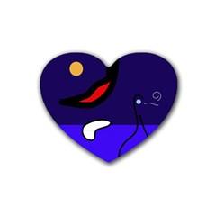 Night Duck Rubber Coaster (heart)  by Valentinaart