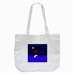 Night Duck Tote Bag (white) by Valentinaart