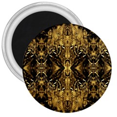 Beautiful Gold Brown Traditional Pattern 3  Magnets