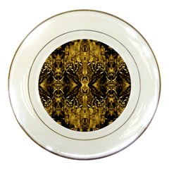 Beautiful Gold Brown Traditional Pattern Porcelain Plates