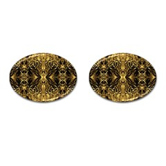 Beautiful Gold Brown Traditional Pattern Cufflinks (oval)