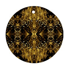 Beautiful Gold Brown Traditional Pattern Round Ornament (two Sides)