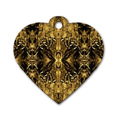 Beautiful Gold Brown Traditional Pattern Dog Tag Heart (one Side)