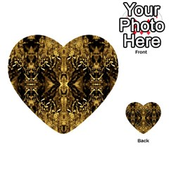 Beautiful Gold Brown Traditional Pattern Multi Purpose Cards (heart)  by Costasonlineshop