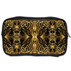 Beautiful Gold Brown Traditional Pattern Toiletries Bags