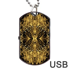Beautiful Gold Brown Traditional Pattern Dog Tag USB Flash (One Side) by Costasonlineshop