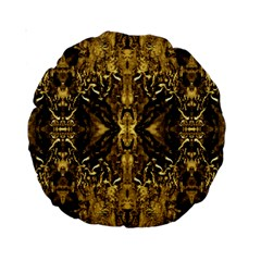 Beautiful Gold Brown Traditional Pattern Standard 15  Premium Round Cushions