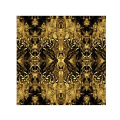 Beautiful Gold Brown Traditional Pattern Small Satin Scarf (square)