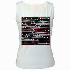 Stay In Line Women s White Tank Top by Valentinaart
