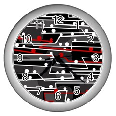 Stay In Line Wall Clocks (silver)  by Valentinaart
