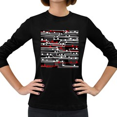 Stay In Line Women s Long Sleeve Dark T Shirts by Valentinaart