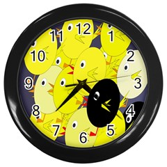 Yellow Flock Wall Clocks (black) by Valentinaart