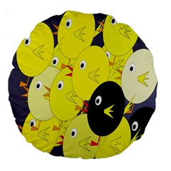 Yellow Flock Large 18  Premium Round Cushions by Valentinaart
