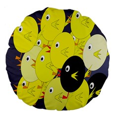 Yellow Flock Large 18  Premium Flano Round Cushions by Valentinaart