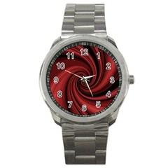 Elegant Red Twist Sport Metal Watch by Valentinaart