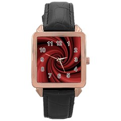 Elegant Red Twist Rose Gold Leather Watch  by Valentinaart
