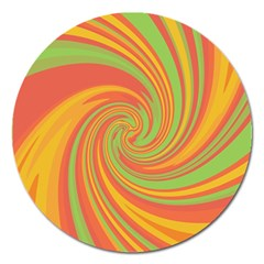 Green And Orange Twist Magnet 5  (round) by Valentinaart