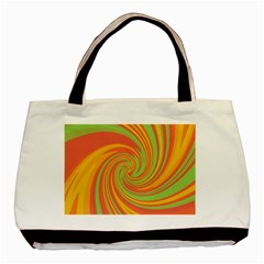 Green And Orange Twist Basic Tote Bag by Valentinaart