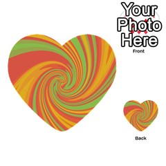 Green And Orange Twist Multi Purpose Cards (heart)  by Valentinaart