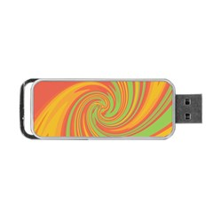 Green And Orange Twist Portable Usb Flash (two Sides) by Valentinaart