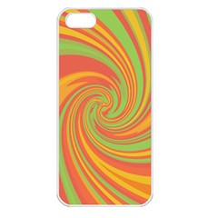 Green And Orange Twist Apple Iphone 5 Seamless Case (white) by Valentinaart