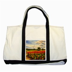 Poppies Two Tone Tote Bag by ArtByThree