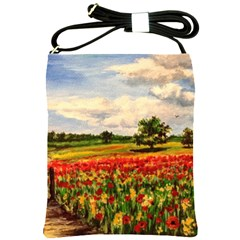 Poppies Shoulder Sling Bags by ArtByThree