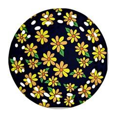 Daisy Flower Pattern For Summer Round Filigree Ornament (2side)